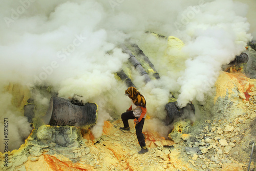 Foto op Plexiglas Indonesië Sulphur mines Kawah Ijen in East Java, Indonesia