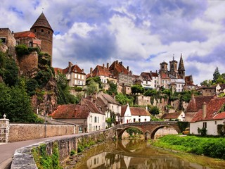 Picturesque medieval town of Semur en Auxois, Burgundy, France