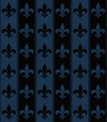 Black and Navy Blue Fleur De Lis Textured Fabric Background