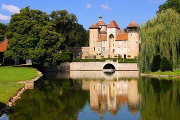 Medieval Chateau de Sercy with reflections, Burgundy, France