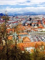 bird eye view of Ljubljana old town city in Slovenia