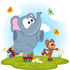 elephant and mouse roller skating - vector illustration