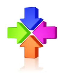 vier Pfeile weisen auf ein Zentrum - Zusammenkunft, Meeting