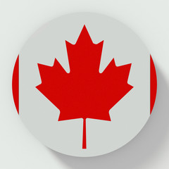 Button Canada flag isolated on white background