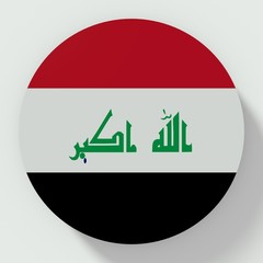 Button Iraq flag isolated on white background