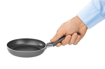 Hand with frying pan
