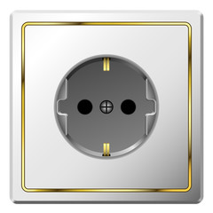 White electric wall outlet with gilded frame