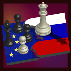 Geopolitical chess depicting the attitude of Russia