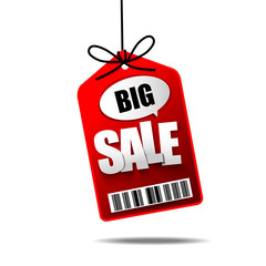 Big Sale text with hanging tag banner label