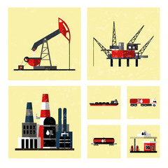 Oil industry icon set. Isolated on white computers icon.