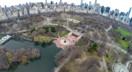 Aerial view of Central Park with Bethesda Fountain