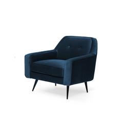 Blue suede armchair