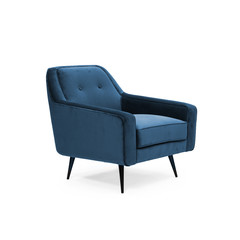 Blue suede armchair side view