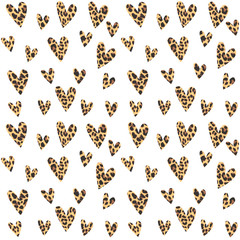 Seamless pattern with leopard hearts, trendy design, vector