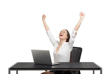excited happy businesswoman