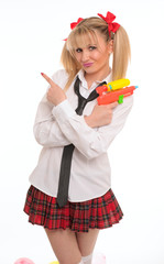 woman dressed in schoolgirl