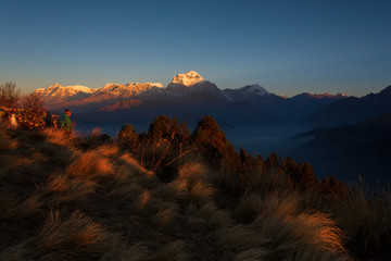 Himalaya Mountains View from Poon Hill 3210m at sunrise