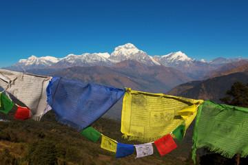 Buddhist prayer flags and The Himalayas