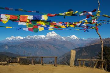 Tibetan Flags at Annapurna Base Camp 4200m (Himalaya, Nepal)