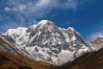 Annapurna South peack in the Nepal Himalaya - view from Annapurn