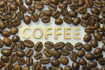 Coffee beans with title