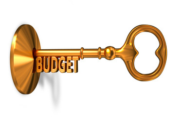 Budget - Golden Key is Inserted into the Keyhole.