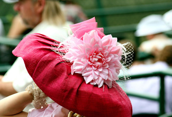 Closeup of pink hat at the Kentucky Derby