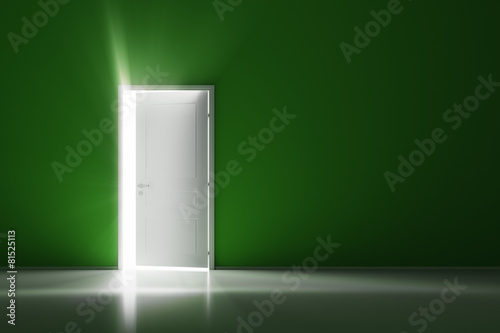 Rays of light through the open white door on green wall - 81525113