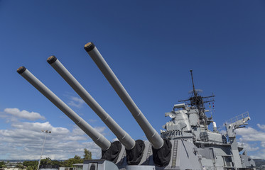 Rear Sixteen Inch Guns of the USS Missouri Battleship