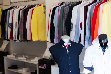apparel store with men shirts