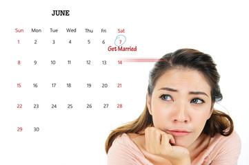 Nervous woman think about getting married