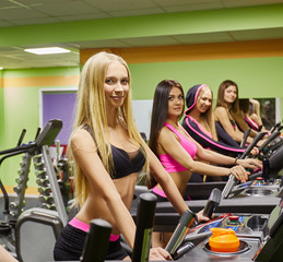 Image of beautiful girls training in fitness gym