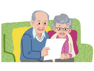 シニア 夫婦 笑顔 Senior couple planning their travel