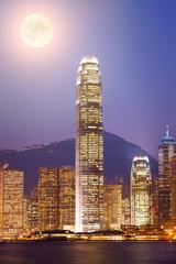 Hong Kong at night view from Kowloon side to Hong Kong island