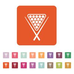 The billiard icon. Game symbol. Flat