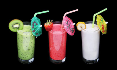 healthy glass of smoothies collection flavor on black background