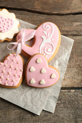 Heart shaped cookies for valentines day on wooden background