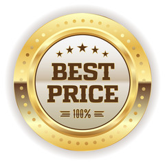 Gold best price badge on white background