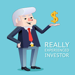 Experienced investor businessman character