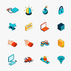 Isometric 3D internet security web icons