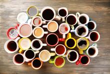 """Постер, картина, фотообои """"Many cups of coffee on wooden table, top view"""""""
