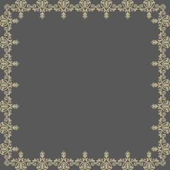 Floral  Pattern. Abstract Golden Frame