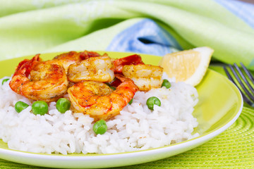 Shrimps with Rice and Peas