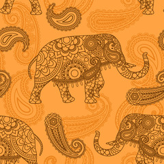 Indian elephant seamless pattern