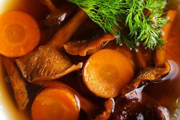 Mushroom soup, closeup