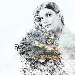 abstract double exposure of woman and beauty of nature at the su