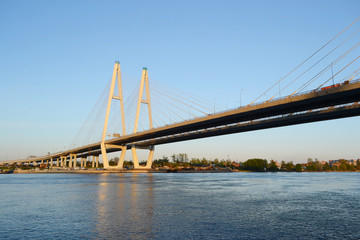 Cable-Stayed Bridge in St.Petersburg.