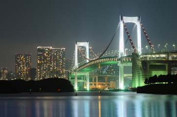 Tokyo Skyline and Rainbow Bridge at night