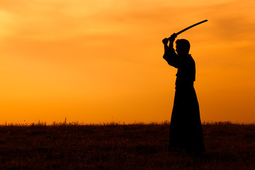 Silhouette of kendo fighter holding bokuto