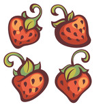 fresh mellow strawberry, vector illustration poster